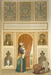 Cairo: Interior of the Domestic House of Sidi Youssef Adami: a Woman Standing in a Room by Emile Prisse d'Avennes