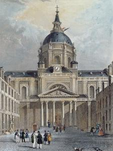 The Courtyard of the Sorbonne, Mid 19th Century (Colour Engraving) by Emile Rouergue