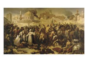 Prise de Jérusalem par les croisés, 15 juillet 1099 (Godefroy de Bouilon rendant grâce à Dieu en by Emile Signol