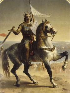 Saint Louis (Louis IX), roi de France en 1226 (1214-1270), portrait équestre lors de son by Emile Signol