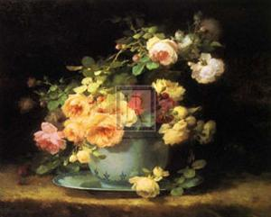 Roses in a Porcelain Bowl by Emile Vouga