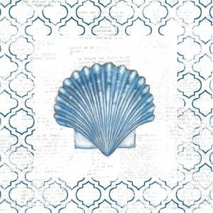 Navy Scallop Shell on Newsprint by Emily Adams