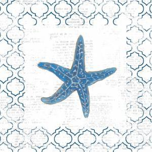 Navy Starfish on Newsprint by Emily Adams
