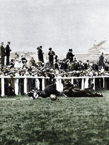 Emily Davison throwing herself in front of the King's horse during the Derby, Epsom, Surrey, 1913-Unknown-Photographic Print