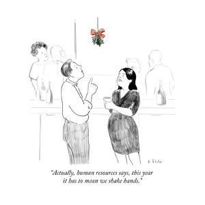 """Actually, human resources says, this year it has to mean we shake hands."" - Cartoon by Emily Flake"