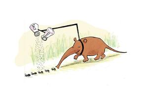 Anteater seasoning ants prior to eating them.  - Cartoon by Emily Flake
