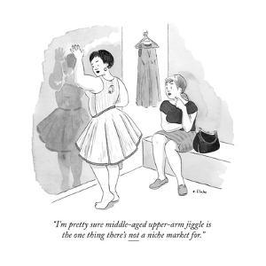 """I'm pretty sure middle-aged upper-arm jiggle is the one thing there's not..."" - New Yorker Cartoon by Emily Flake"