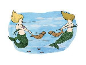 Mermaids holing their sea lion pups away from each other. - Cartoon by Emily Flake