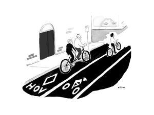 Tandem bike in HOV lane - Cartoon by Emily Flake