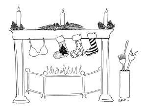 Fireplace set for Christmas with two stockings and a bra hung from the mantle. - New Yorker Cartoon by Emily S. Hopkins