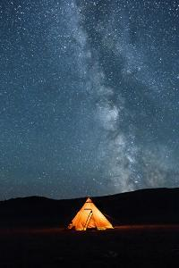 Asia, Western Mongolia, Khovd Province, Gashuun Suhayt. River Valley. Tent with Stars and Milky Way by Emily Wilson