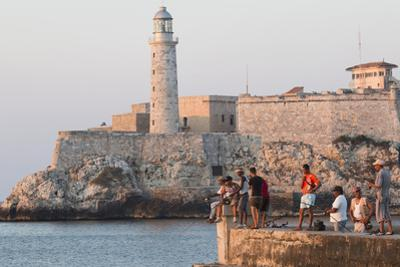 Caribbean, Cuba, Havana. Sunset and Fishing Along the Malecon by Emily Wilson