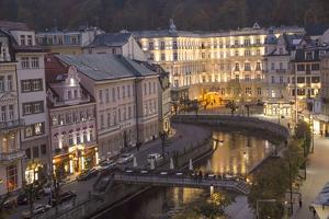 Czech Republic, Karlovy Vary. City Overlook of Carlsbad at Dusk by Emily Wilson