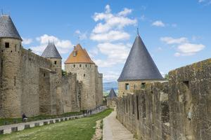 France, Languedoc-Roussillon. Chateau De Carcassonne. City Walls and Gates by Emily Wilson