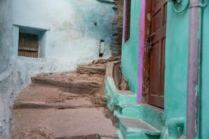 India, Rajasthan, Udaipur Narrow Winding Street with Steps by Emily Wilson