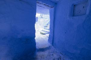 Morocco, Chaouen. Vivid Blue Doorway Out to the Street by Emily Wilson
