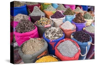 Morocco, Marrakech. Bags of Herbs, Spices and Dried Floral and Vegetable Items in the Souk