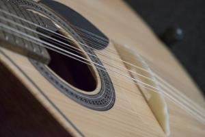 Portugal, Coimbra. Fado Musician's Portuguese Guitar Head, Sound Box, Pegs and Strings by Emily Wilson