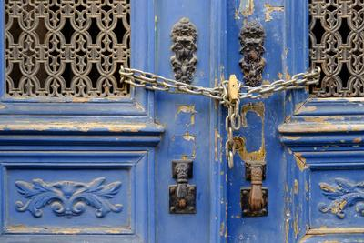 Portugal, Lisbon. Historic Alfama District, Blue Door with Chain Lock