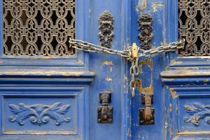 Portugal, Lisbon. Historic Alfama District, Blue Door with Chain Lock by Emily Wilson