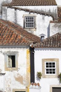 Portugal, Obidos. Ancient, red, terra cotta tiled roof tops, lines. by Emily Wilson