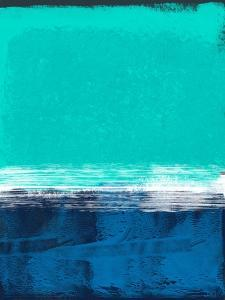 Emerald Sky and Navy Blue Abstract Study by Emma Moore