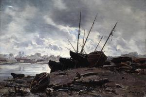 Boats Waiting for the Tide, 1882 by Emmanuel Lansyer