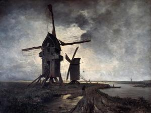 Windmills of the Surrounding Landscape of Lille, 1877 by Emmanuel Lansyer