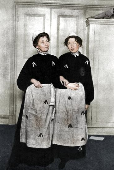 Emmeline and Christabel Pankhurst, English suffragettes, in prison dress, 1908-Unknown-Photographic Print