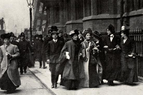 Emmeline Pankhurst, British suffragette leader, carrying a petition, London, 13 February 1908-Unknown-Photographic Print