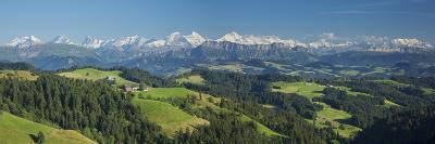 Emmental Valley and Swiss Alps in the Background, Berner Oberland, Switzerland-Jon Arnold-Photographic Print