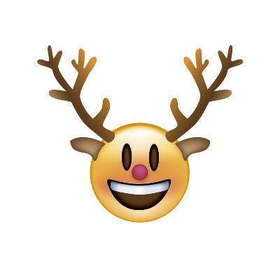 Emoji Big Smile Reindeer-Ali Lynne-Giclee Print