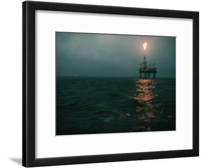 Night View of a Plume of Fire from an Offshore Oil Rig in This Norwegian Oil Field