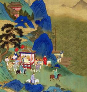 Emperor Ch'In Wang Ti Travelling in a Palanquin, from a History of Chinese Emperors