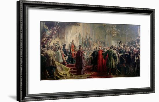 Emperor Franz Joseph I and Empress Elizabeth in Budapest, 8th July 1896-Gyula Benczur-Framed Giclee Print