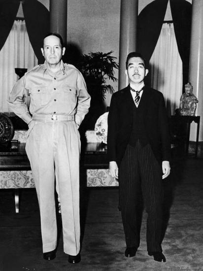 Emperor Hirohito Next to Gen. Douglas Macarthur During Precedent Shattering Visit to US Embassy--Premium Photographic Print