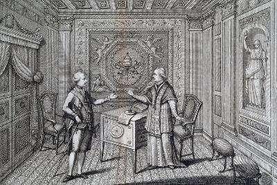 Emperor Joseph II in Rome Visiting Pope Pius VI, 1783, Italy--Giclee Print