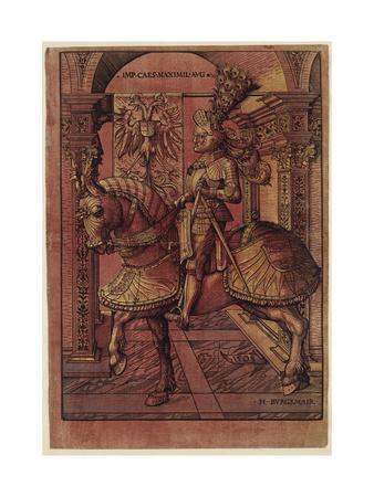 Emperor Maximilian I, Armed on Horseback, 1508-Hans Burgkmair-Giclee Print