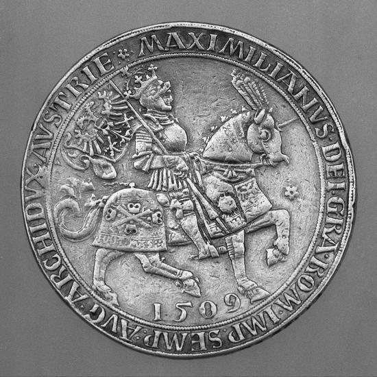 Emperor Maximilian I on Horseback. Thaler Coin from Hall-Ulrich Ursentaler the Elder-Giclee Print