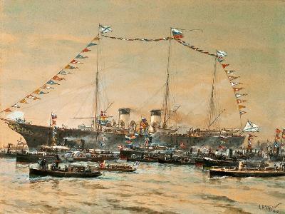Emperor Nicholas II Visiting His Yacht Polestar, 1908-Alexander Karlovich Beggrov-Giclee Print