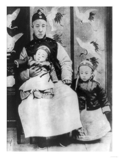 Emperor Pu Yi with Father and Brother Photograph - China-Lantern Press-Art Print
