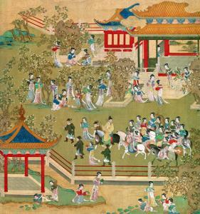 Emperor Yang Ti Strolling in His Gardens with His Wives, from a History of Chinese Emperors