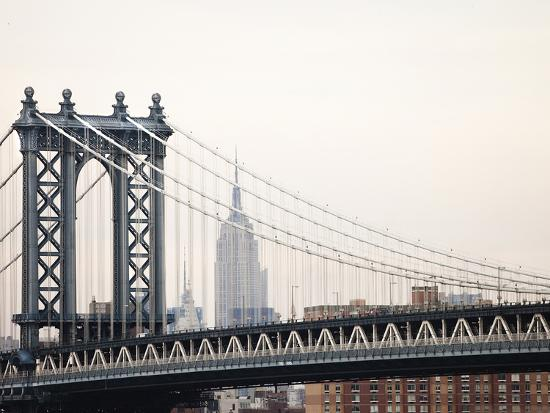 Empire State Building and Manhattan Bridge from the Brooklyn Bridge-Keith Barraclough-Photographic Print