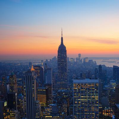 Empire State Building at Sunset from Top of the Rock Observatory-Andria Patino-Photographic Print