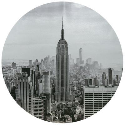 Empire State Building - Circular Silver Canvas Giclee Printed on 2 - Wood Stretcher Wall Art