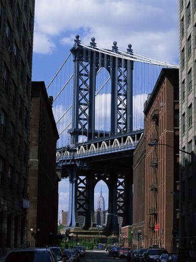 Empire State Building in Distance Seen Through Manhattan Bridge, Brooklyn, New York, USA-Yadid Levy-Photographic Print