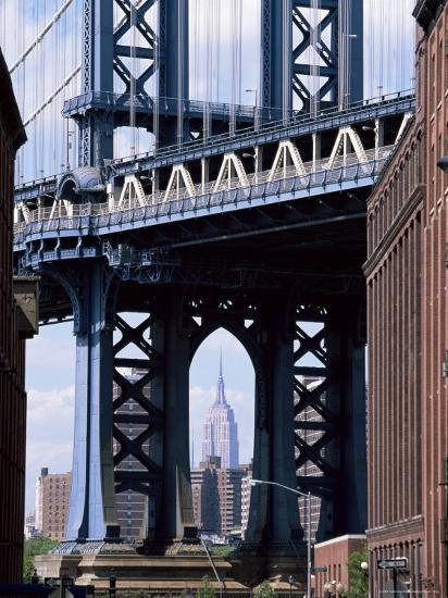 Empire State Building Seen Through the Manhattan Bridge, Brooklyn, New York, New York State, USA-Yadid Levy-Photographic Print