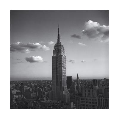 Empire State Building White Clouds - New York City Iconic Building, Top View-Henri Silberman-Photographic Print