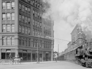 Empire State Express (New York Central Railroad) Passing Thru Washington Street, Syracuse, N.Y.