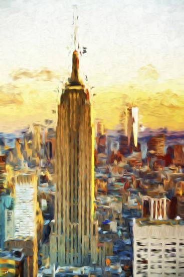 Empire State Sunset III - In the Style of Oil Painting-Philippe Hugonnard-Giclee Print